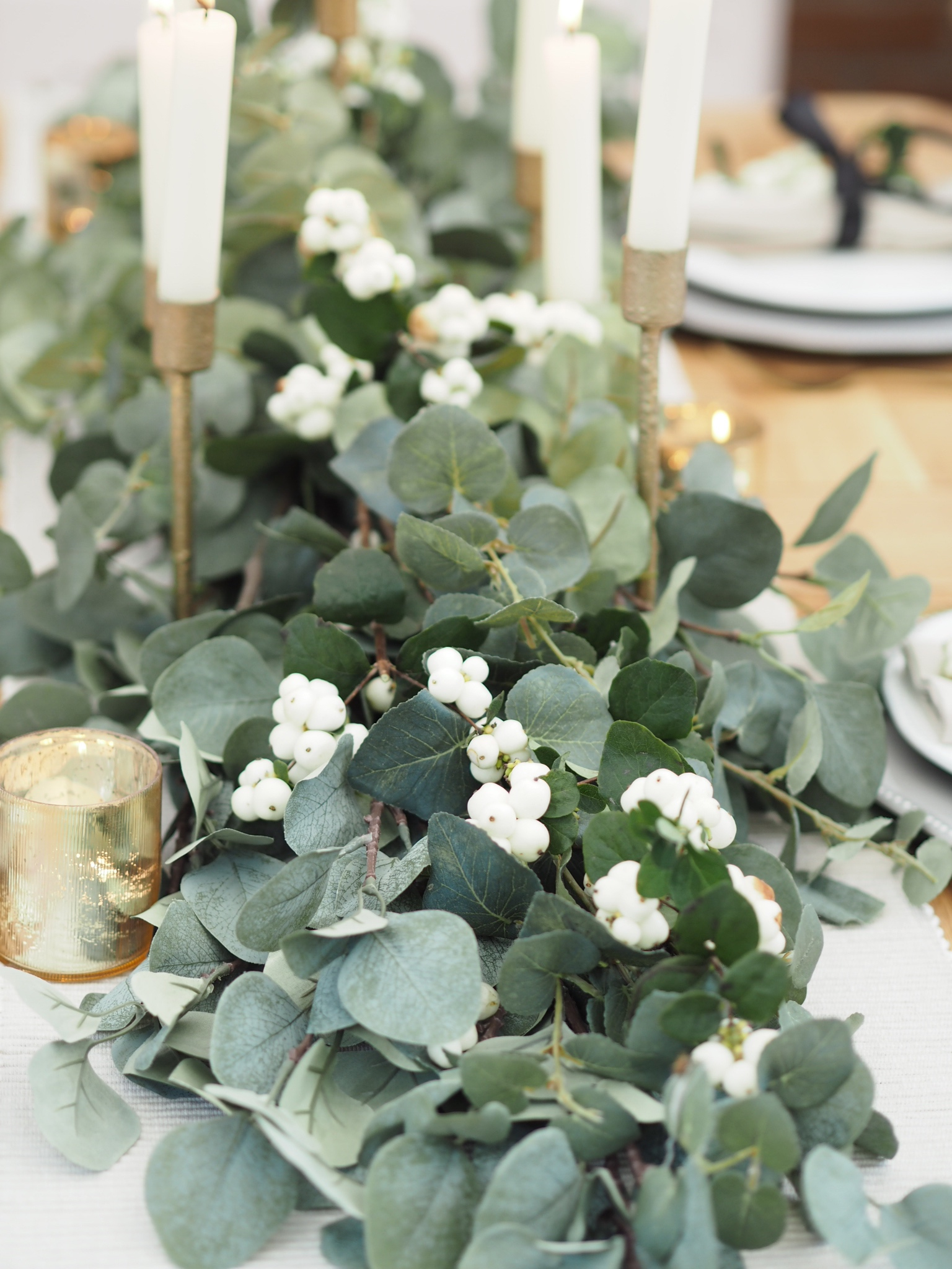 Eucalyptus festive table runner