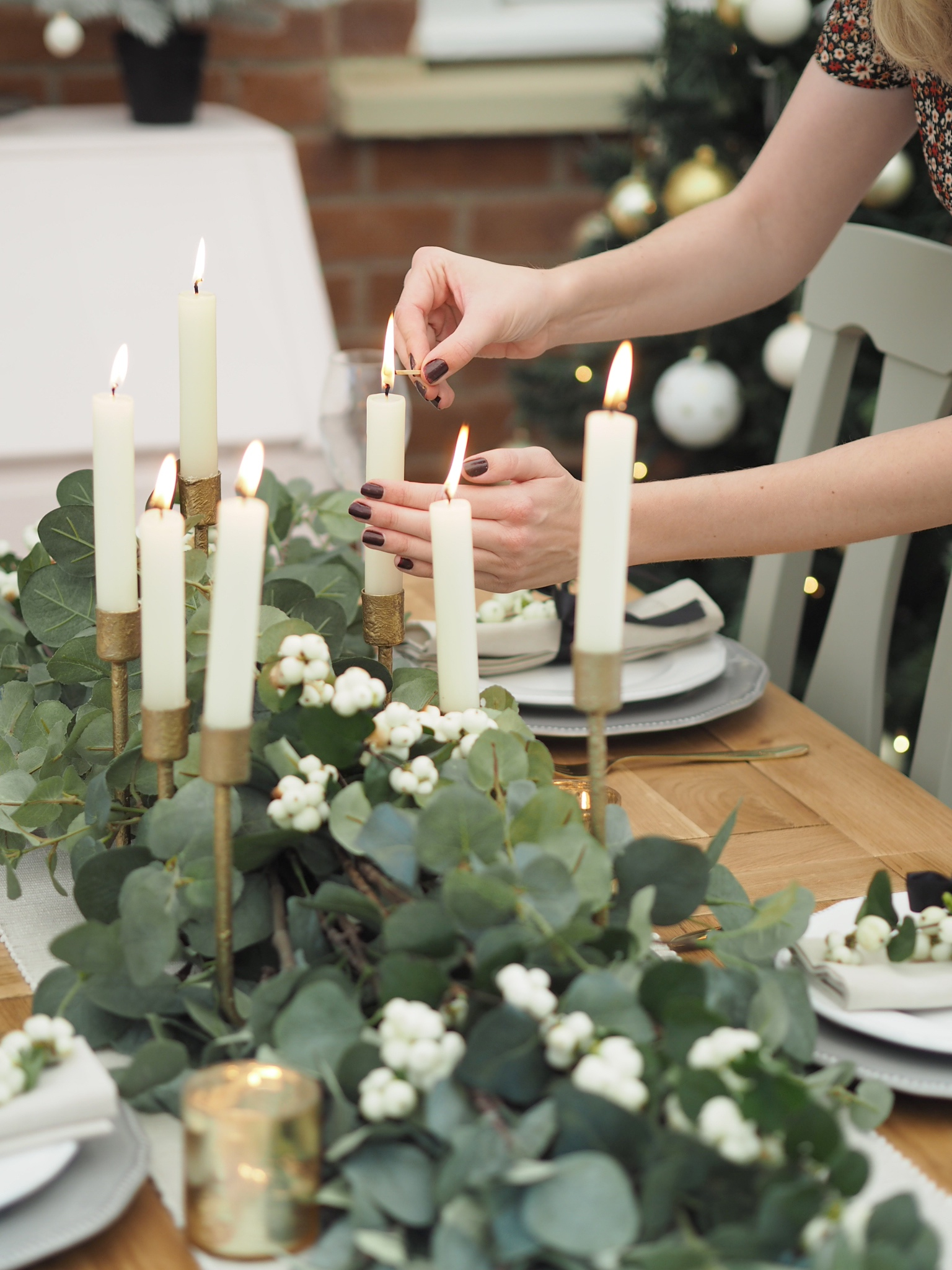 Christmas dining table with candelabra