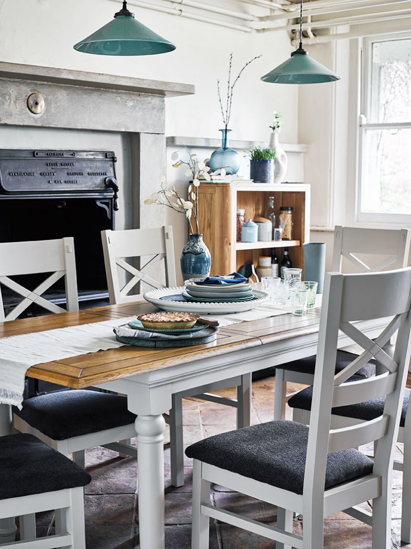 Grey painted dining set in cool blue wintery dining room