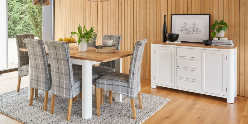 Hove white painted and natural oak dining table