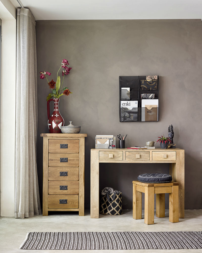 A neutral, gray-scale home office with a mix of natural oak, rustic oak and mango wood furniture