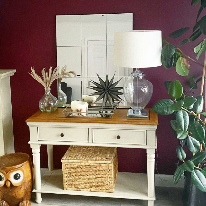 white painted console table