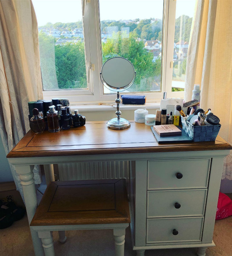White painted dressing table and matching stool