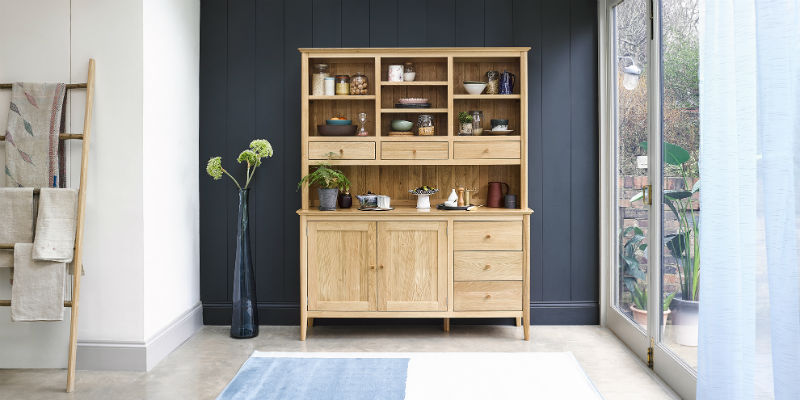 oak scandinavian style dresser in modern dining room