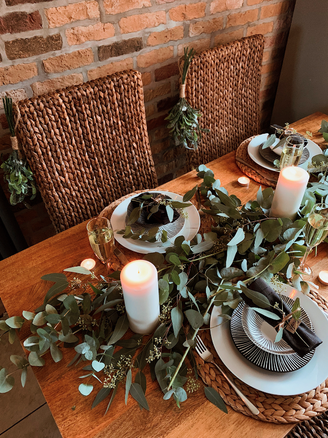 Christmas dining table with Eucalyptus