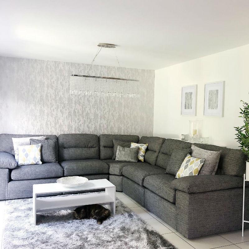 Large grey modular corner sofa