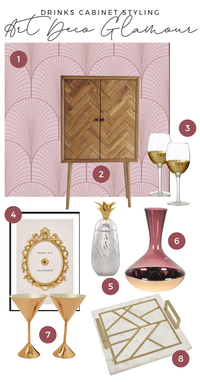 Drinks Cabinet Styling Art Deco Glamour Moodboard