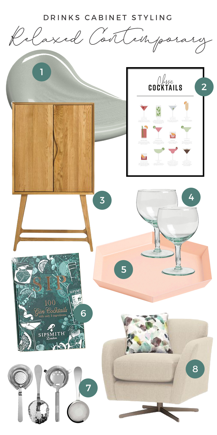 Drinks Cabinet Styling Relaxed Contemporary Moodboard