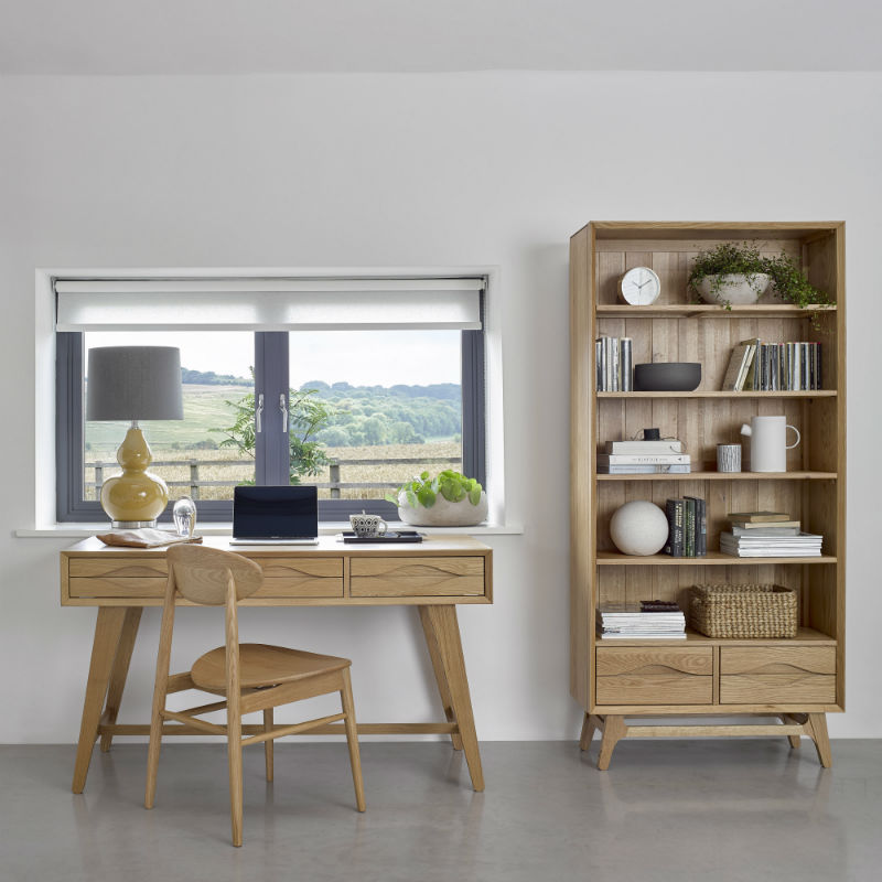 Scandi-style oak office with computer desk, tall bookcase and all-oak dining chair