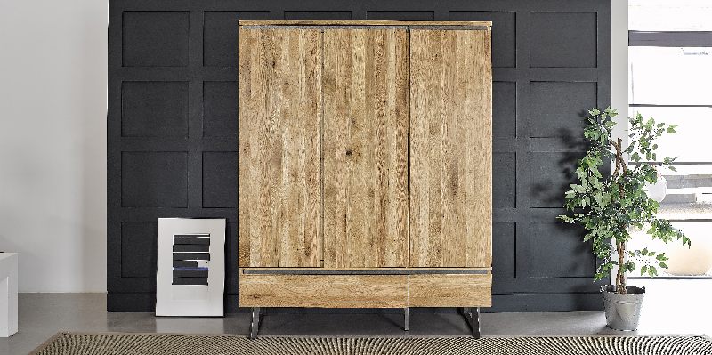 industrial style triple wardrobe in modern bedroom