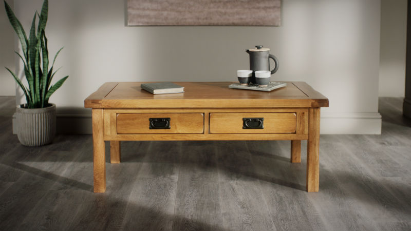 Rustic oak coffee table with bronze-tinted metal handles