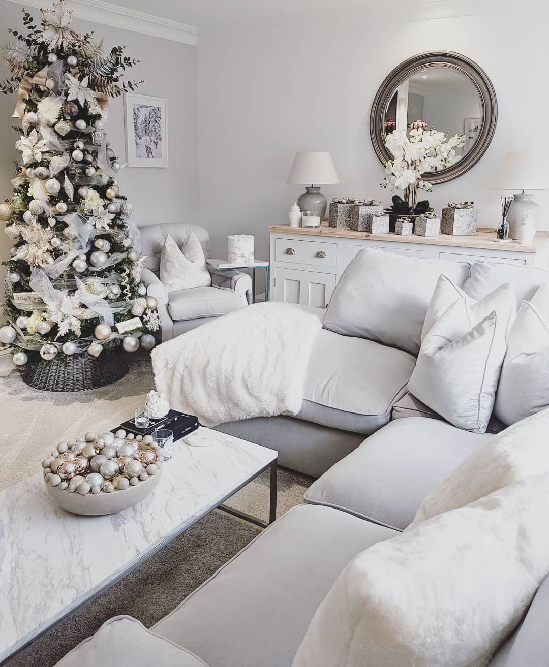 white and grey christmas living room interior
