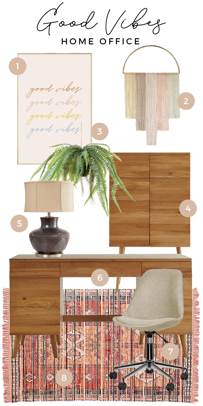 Good vibes home office moodboard styling