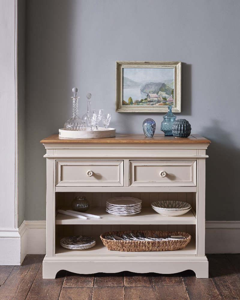 grey painted traditional style console table