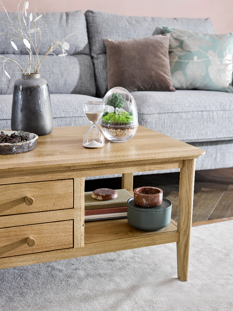 scandinavian style coffee table in modern living room