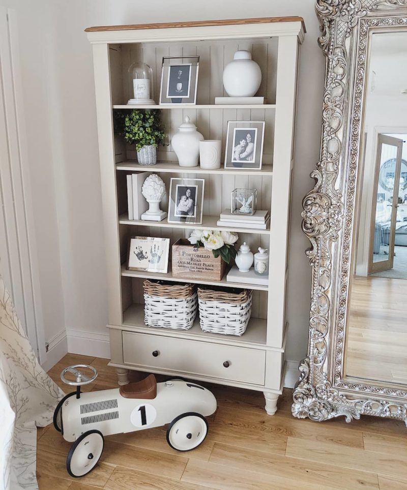 light grey painted bookcase