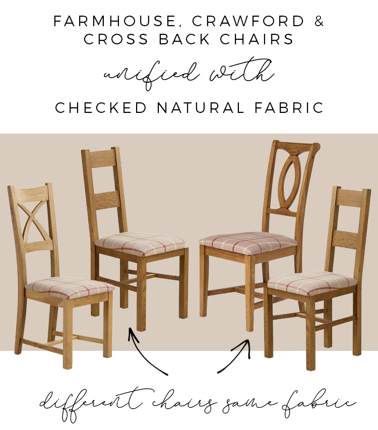 dining chairs with fabric moodboard