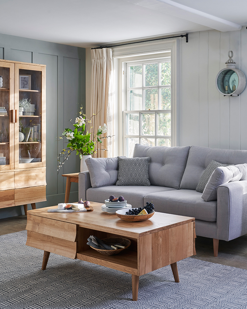 scandi style living room furniture with lilac sofa