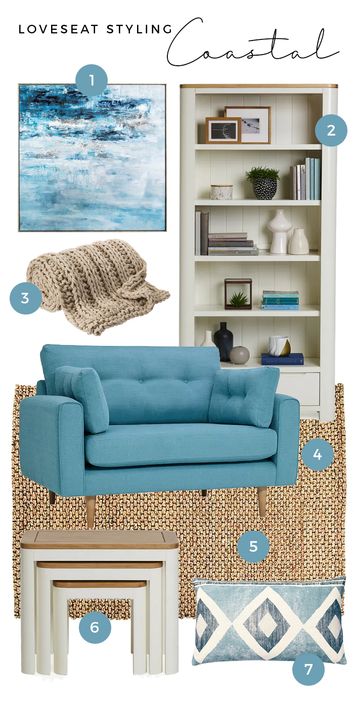 Coastal loveseat styling moodboard