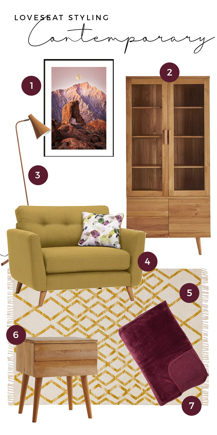 contemporary loveseat styling moodboard