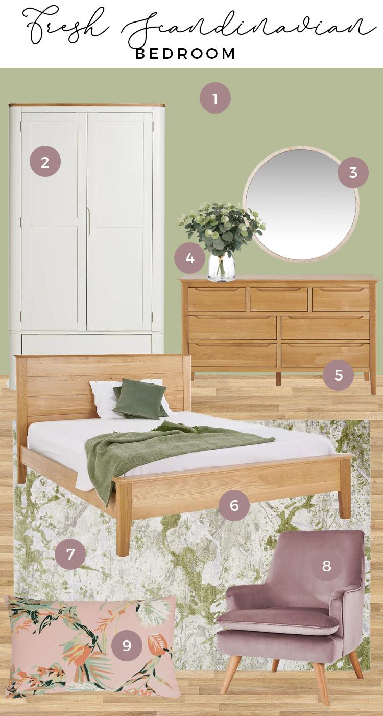 Fresh Scandinavian Green Bedroom Moodboard