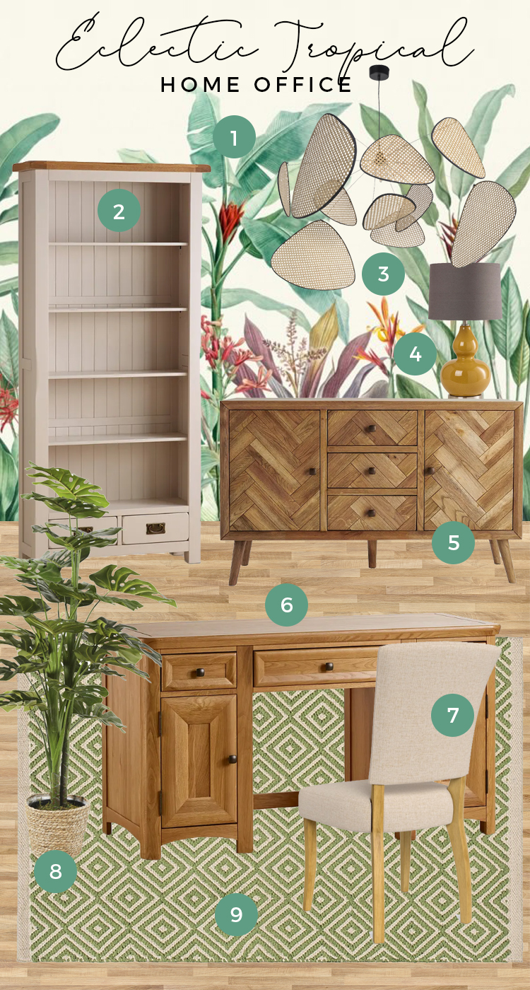 Eclectic Tropical Green Home Office Moodboard