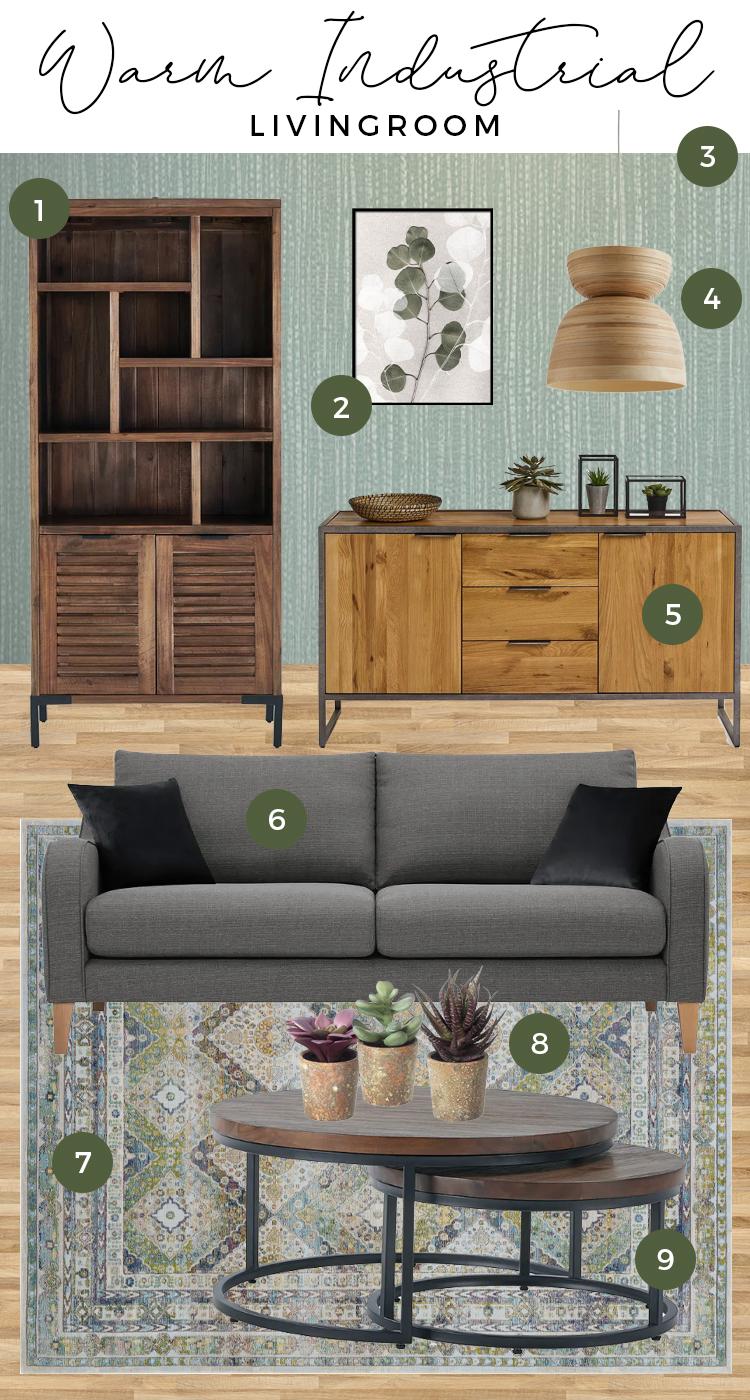 Warm Industrial Green Living Room Moodboard