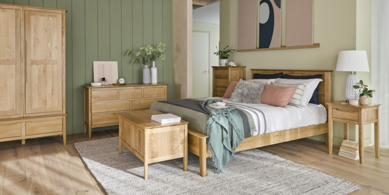 Green and Pink Bedroom with Oak Copenhagen Range
