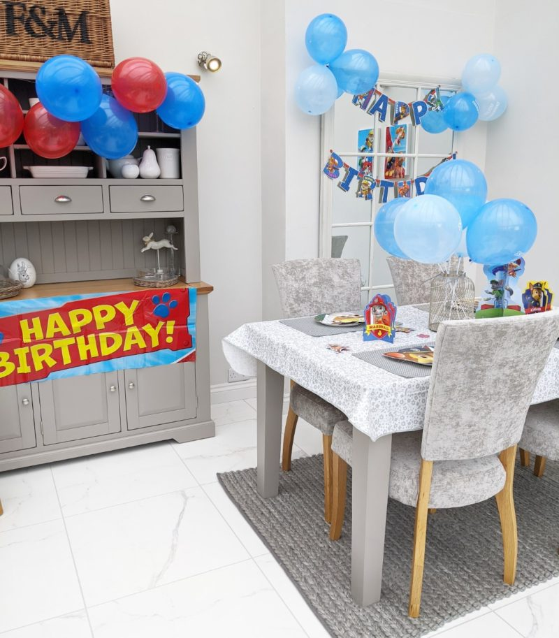 Birthday celebrations on grey dining table