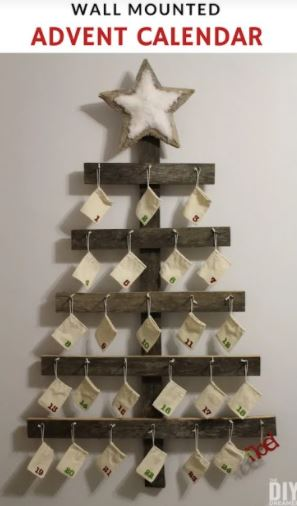 Wood Wall Mounted Tree Advent Calendar