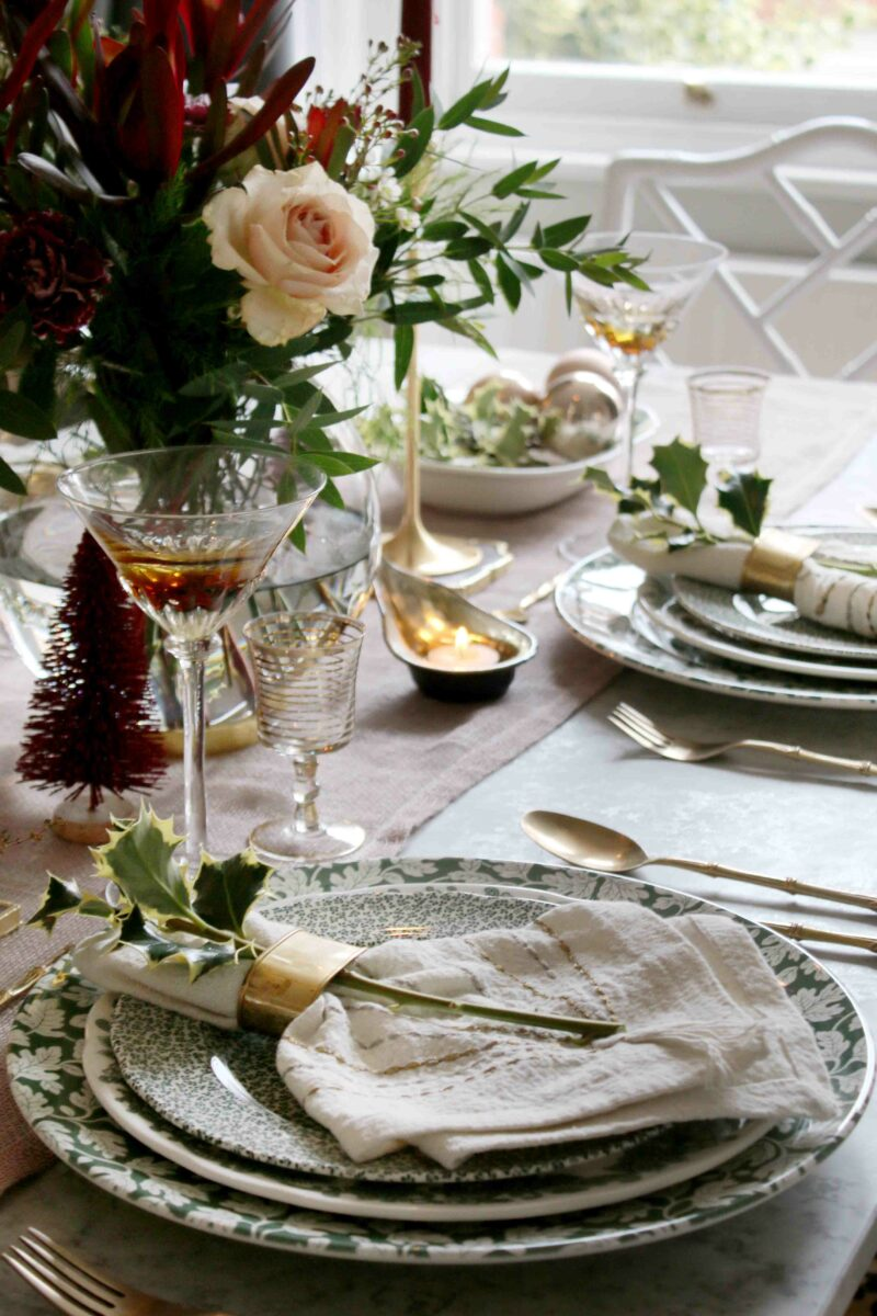 Christmas Dinner Table with Vintage Glasses