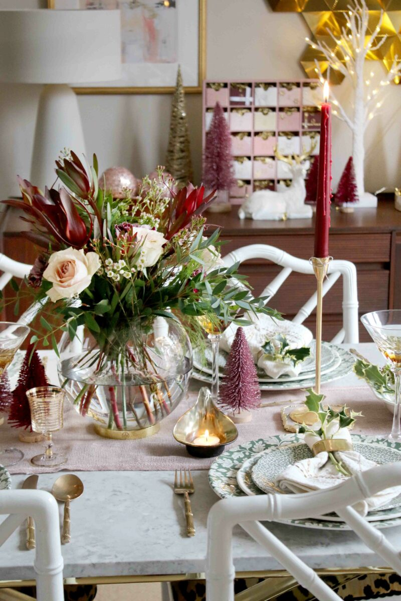 Christmas table centrepiece in mixed florals