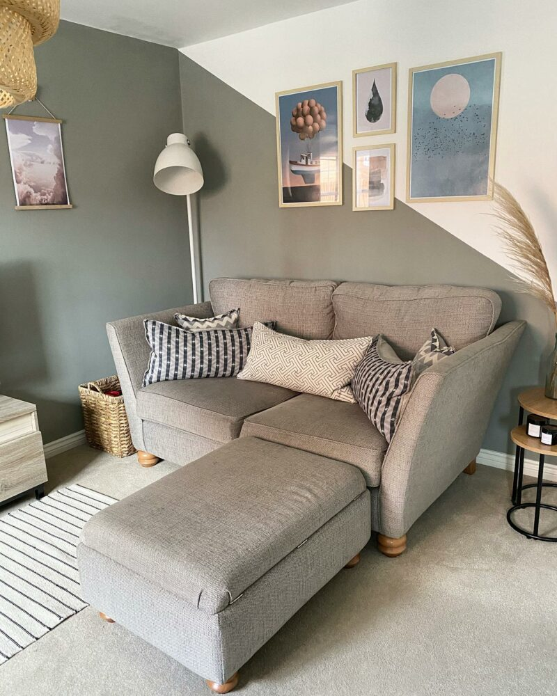 Grey 2 seater sofa and footstool