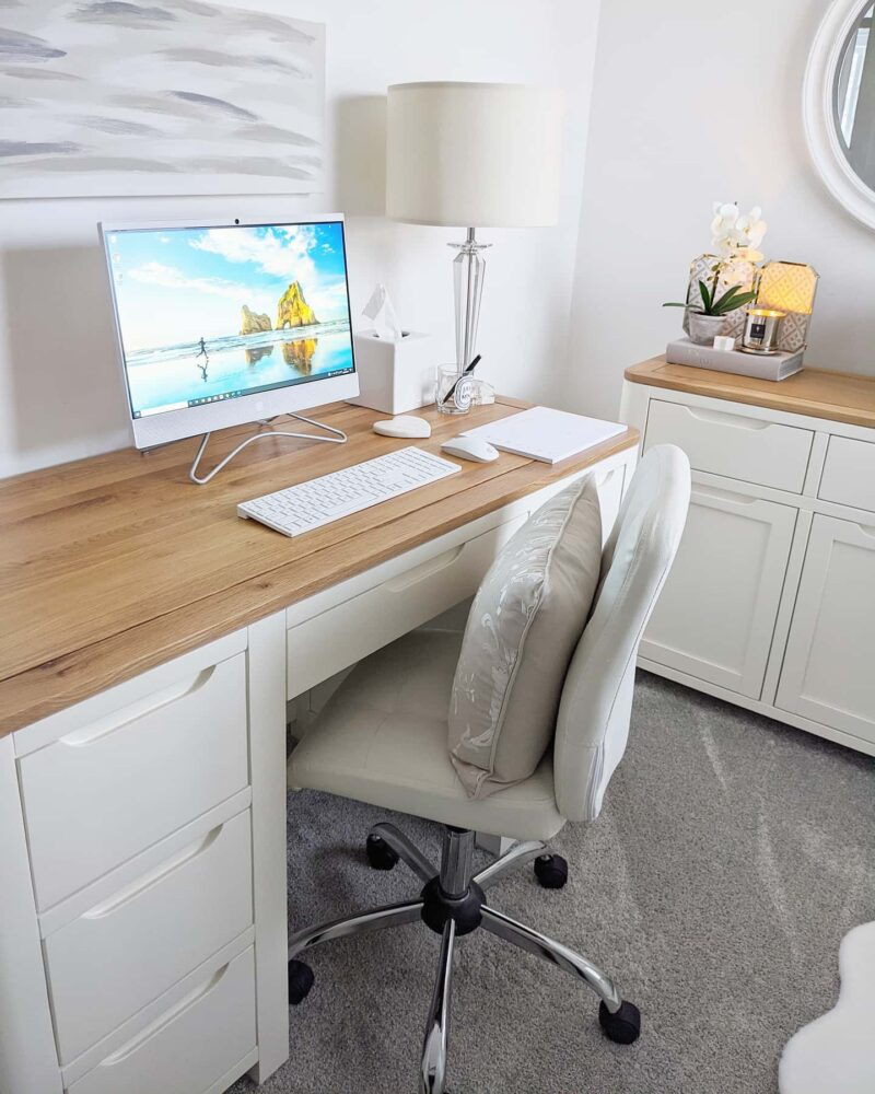 White office desk and sideboard