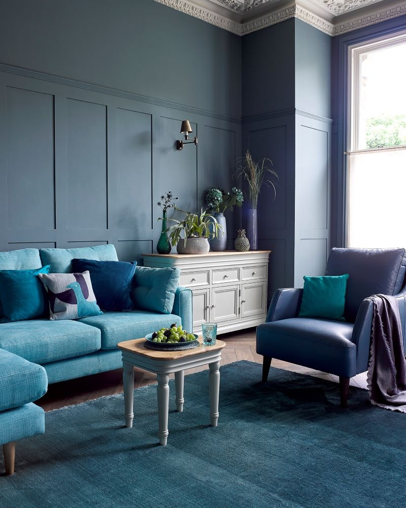Brighton corner sofa, trend accent chair, bridnle side table, brindle large sideboard in large blue living room