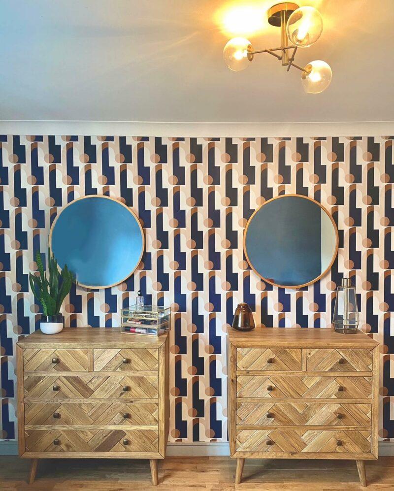 Parquet oak chest, geometric wallpaper