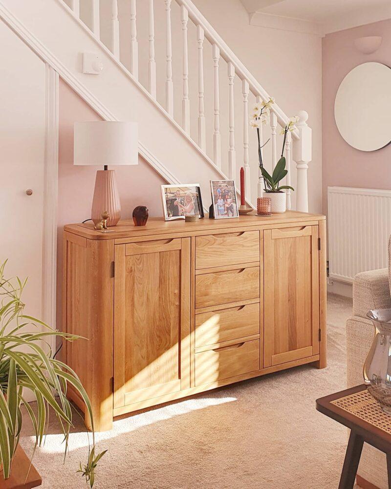 Oak Sideboard against pink living room