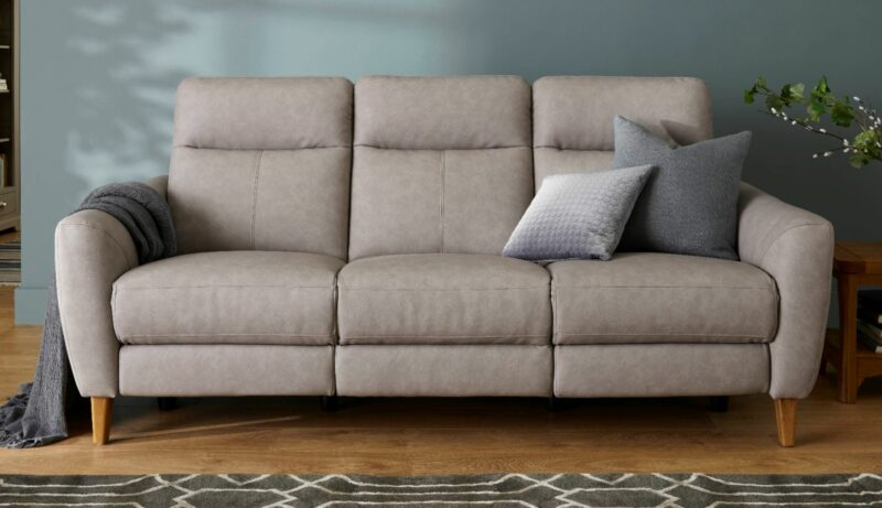 Dylan three seater grey recliner sofa