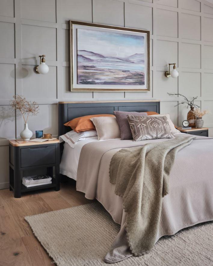 Grove dark grey oak double bed
