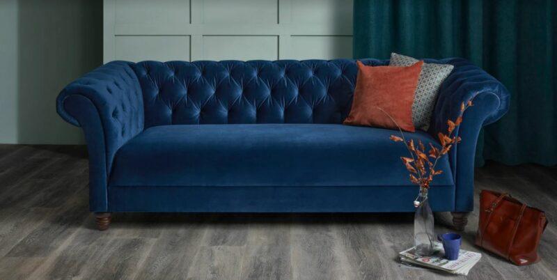 Montgomery chesterfield soft velvet blue sofa