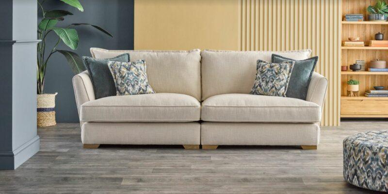 New England cream fabric sofa
