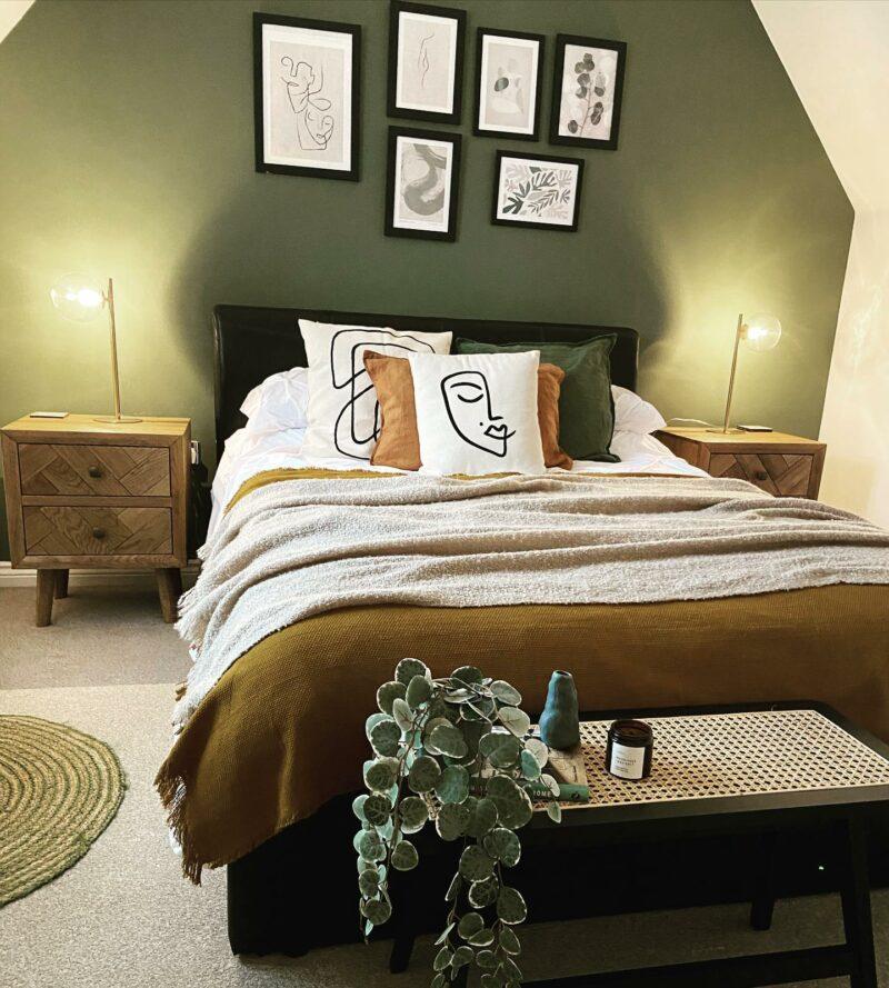 Green earthy bedroom