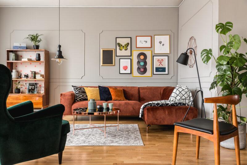 boho living room with orange corner sofa