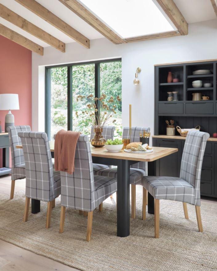 Grove dark grey oak dining table