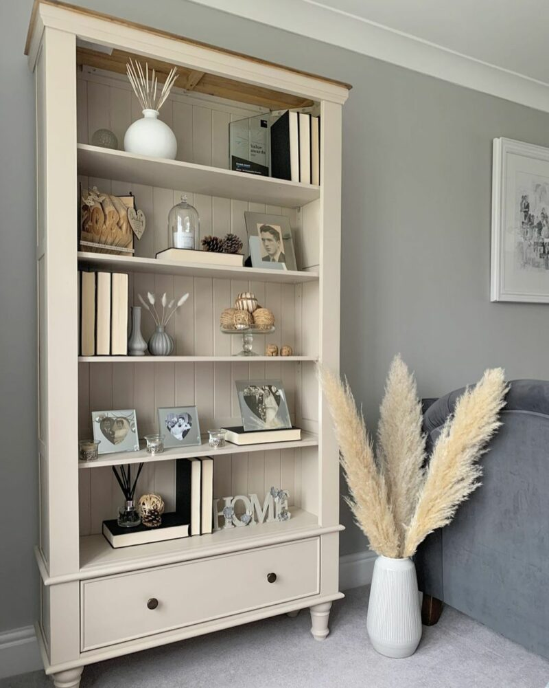 pampas grass decor with painted oak bookcase