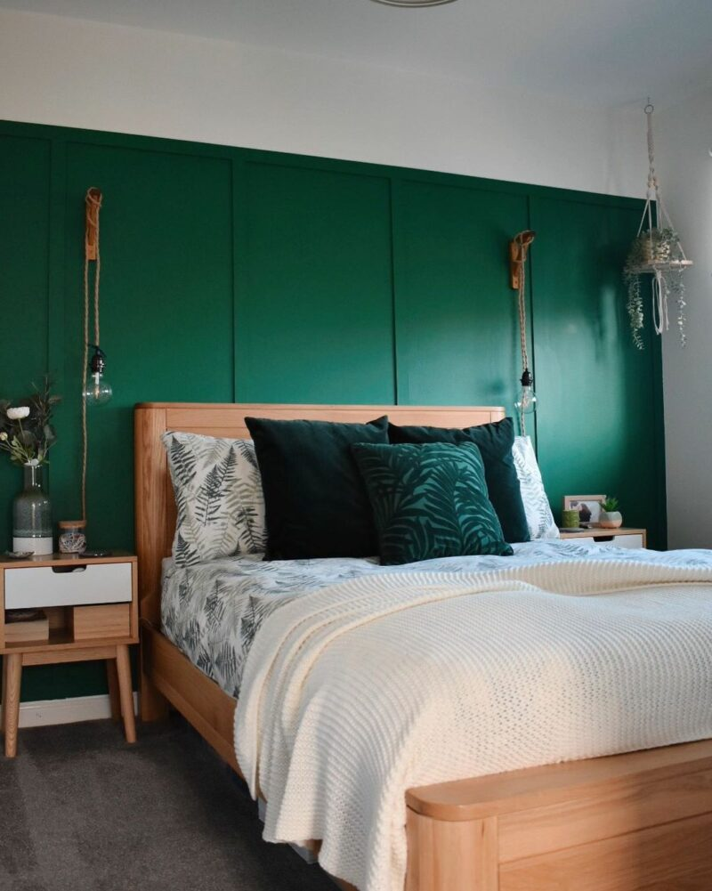 Romsey light oak double bed with green walls