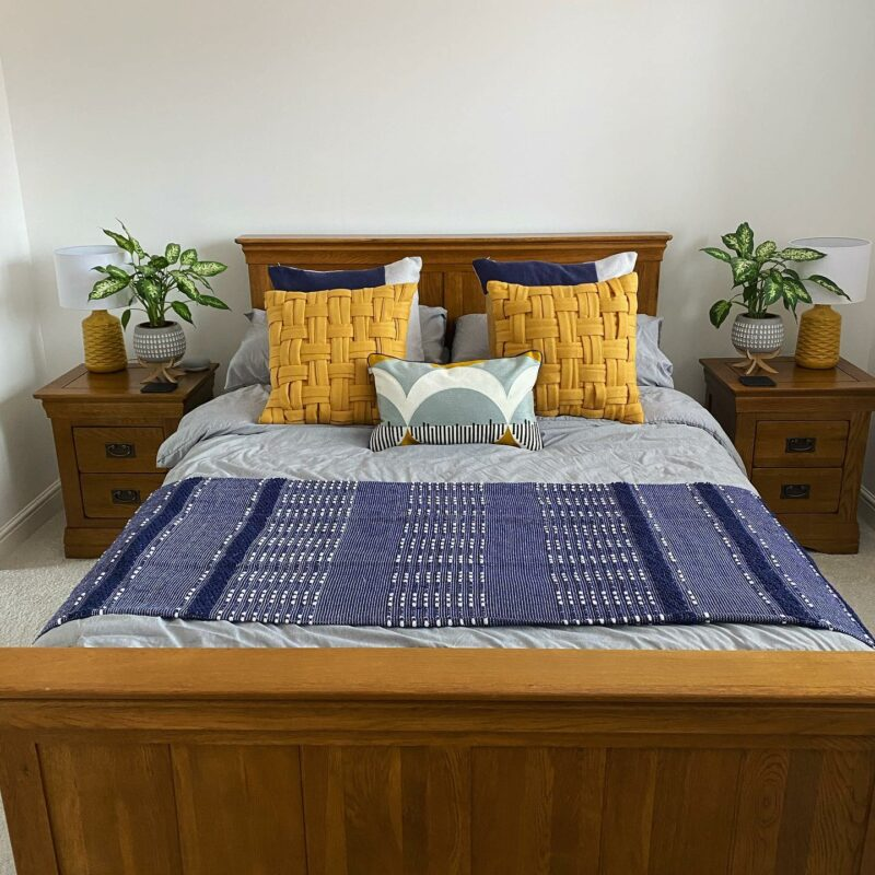 Large French farmhouse oak double bed
