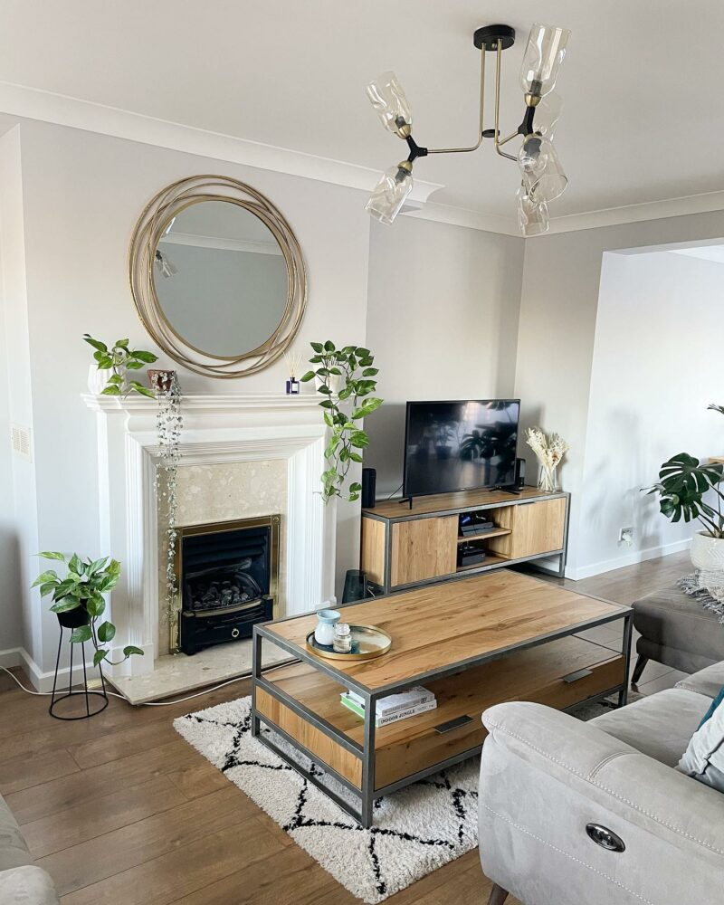 Industrial style furniture in living room
