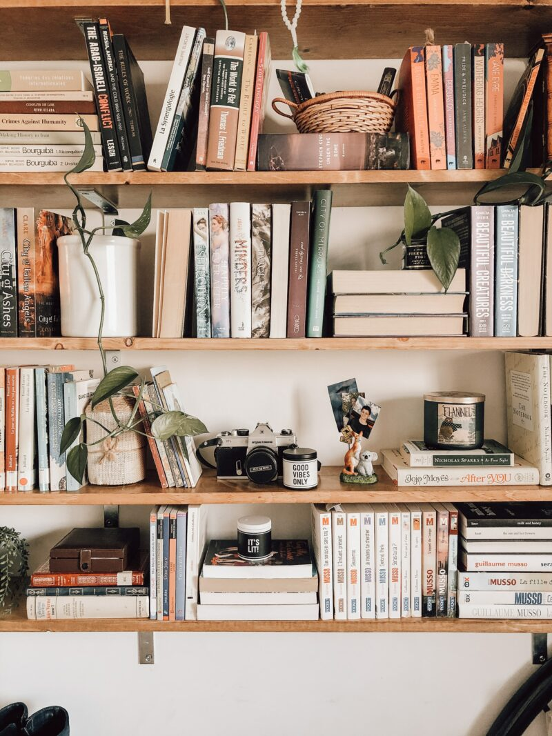 Home library shelf with books
