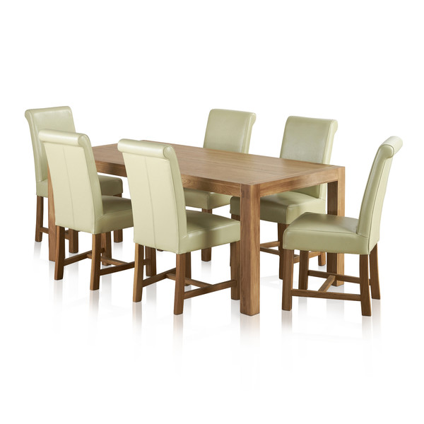 Alto Natural Solid Oak Dining Set 6ft Table With 6 Braced Scroll Back Cream Leather Chairs thumbnail